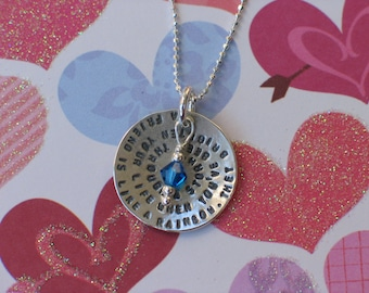 Friendship Necklace & Birthstone - Choose your own Quote - Sterling Silver - Best Friends, Going Away Gift, Sister Necklace, Friends Forever