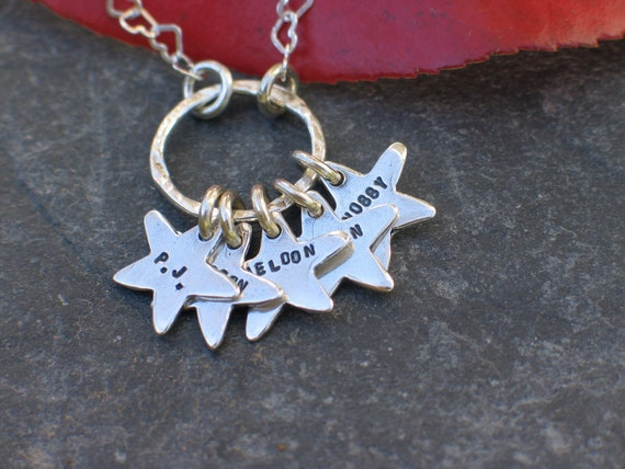 Charm Necklace - Sterling Silver Stars - Personalized in English or Hebrew - Stamped Names/Children/Grandchildren/Pets/Words/Initials