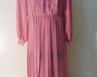 Vintage 1980s pink lacy sheer pleated dress