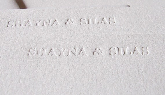 Personalized Letterpress Stationery with Names Blind Debossed (Set 100)