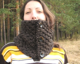 Chunky Cowl Knit Neck warmer Neck collar Women Men Acrylic Black / Charcoal Buttons Cuddly Urban chic Rustic Accessories Trendy Warm Scarf