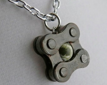 bicycle chain pendant with Ocean Jasper, bike jewelry, cycling gift, square bicycle pendant, fixie jewelry, bike love squared