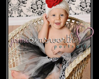 Crochet Baby Girl Hat, Baby Hat with Rose, Newborn Girl Hat, Spring Hat for Baby, Newborn Hat Photo Prop