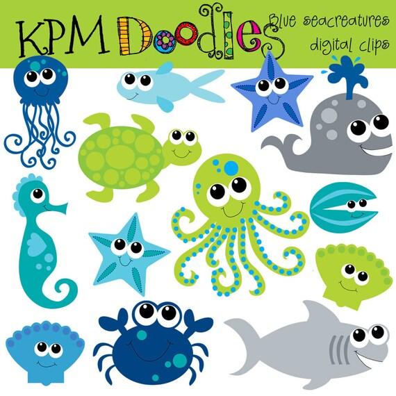 KPM Blue Sea Creatures digital clip art