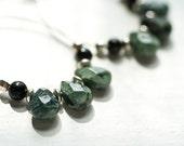 Green Hoop Earrings - Artisan Gemstone Jewelry - Obsidian and Jasper, Sterling Silver - Modern Jewelry Design