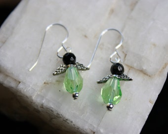 Light Green and Black Vintage Crystal Angel Wing French Wire Sterling Silver Earrings