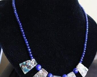 Lapis Lazuli and Abalone Shell Gemstone Necklace
