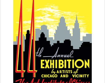 Chicago 1940 Artists Exhibition - WPA Poster Print - Chicago art print -