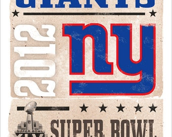 New York Giants poster  2012 Super Bowl Champs -13x19  NY Giants print
