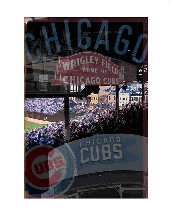 Chicago Cubs print - Wrigley Field Montage - 8x10, 11x14 or 16x20 print- Baseball print - Chicago Cubs fan gift - Father Day gift for Dad