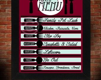 8x10 DRY ERASE Retro Red Menu Board Template Print