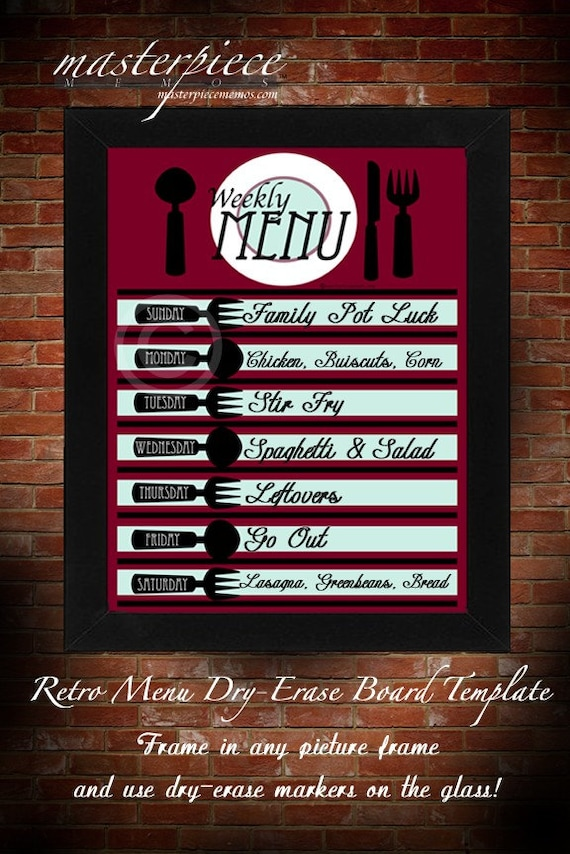 8x10 dry erase retro red menu board template by masterpiecememos. Black Bedroom Furniture Sets. Home Design Ideas