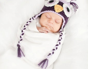 Crochet Baby Owl Earflap Hat - Newborn to 10 years - Plum Perfect and Orchid - MADE TO ORDER