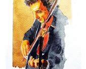 Musician Playing Violin, Orchestra and Symphony, Coffee Color, Watercolor, original illustration Artist Print Wall Art, Free Shipping in USA