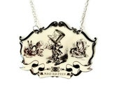 Mad Hatter Necklace Alice In Wonderland Beige Black and White Halloween Jewelry Costume