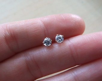 White Zircon Stud Post Earrings, set in Sterling Silver, 3.5 mm