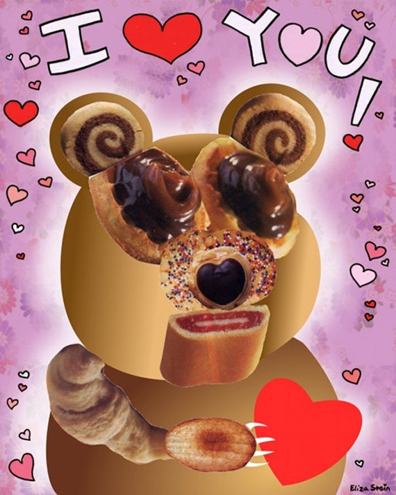 Teddy Bear I Love You Greeting Card, Red and Pink Hearts, Blank, 5x7, Weird Creepy Cute Valentines Day Card