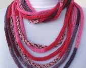 Knit Scarf Necklace - loop scarf - infinity scarf - neck warmer -  knit scarflette- colorful    E120