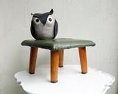 Mid Century Vintage Footstool Foot Stool Industrial Furniture Army Green Brown Vinyl Metal Wood Step Stool Foot Rest