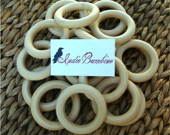 Wholesale Teething Rings, 20 UNFINISHED Organic Wooden Teething Rings