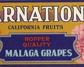 Carnation Vintage Crate Label, 1940's