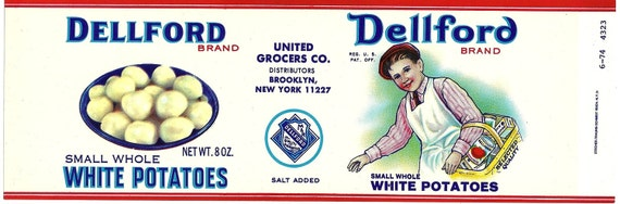 Dellford White Potatoes Vintage Can Label, 1970s