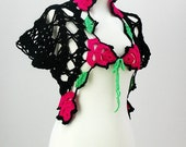 AOD from Ainur  Crochet Vest  Floral Roses black fushia neon pink Green Pink Sweater Custom order Gift For Her valentines day