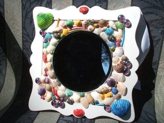 "BEACH THEMED Mosaic Mirror with Natural and Multi Colored Sea Shells & Glass Gems - Uniquely Shaped - 9""x9""  (Ready to Ship) - OOAK"