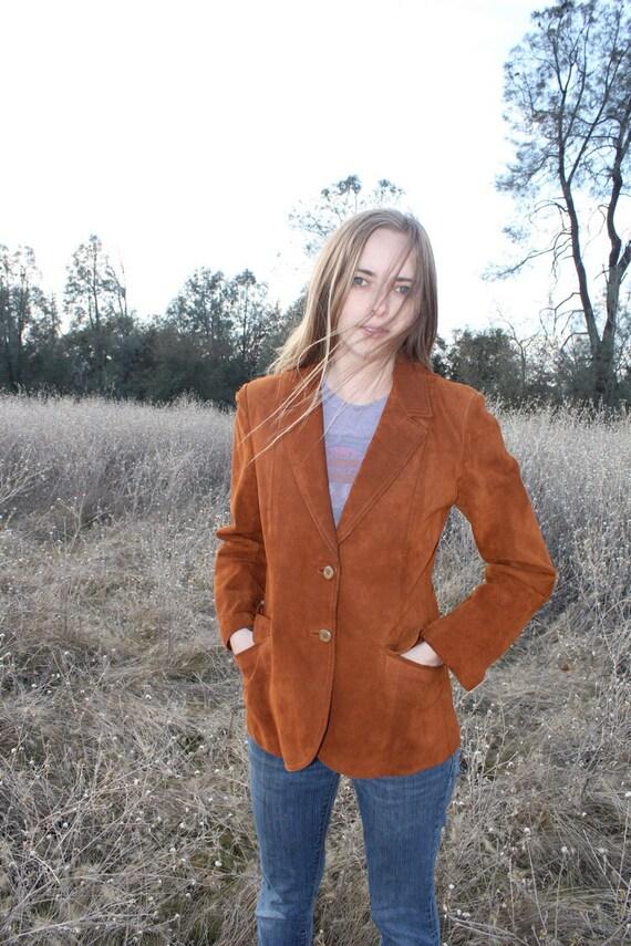 CHESTNUT Blazer 1970's Vintage Sued Leather Jacket Rad Fitted Coat