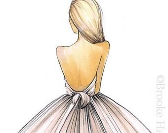 Bridal Fashion Illustration-Bridal Sketch-Bride Fashion Sketch-Bride Illustration-Brond Bride-Wedding Illustration-Bride Print-Brooke Hagel
