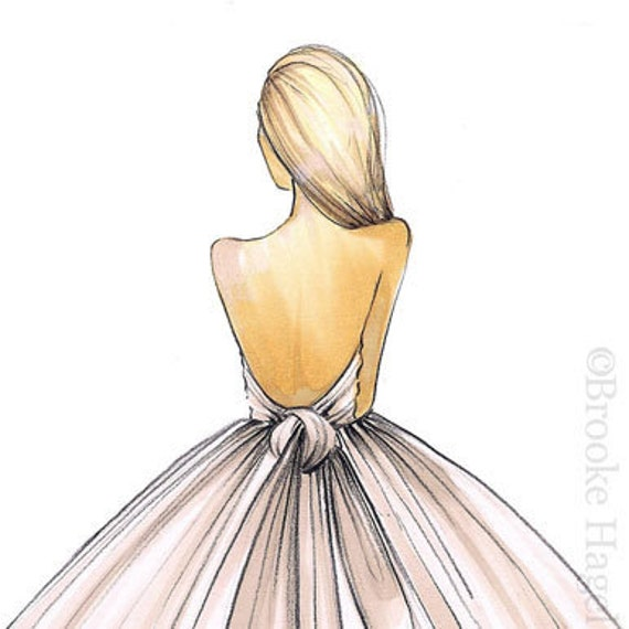 Items Similar To Bridal Fashion Illustration-Bridal Sketch