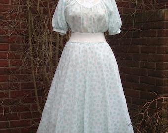 1950s Vintage White and Blue Spotty Dress - UK 12 US 10