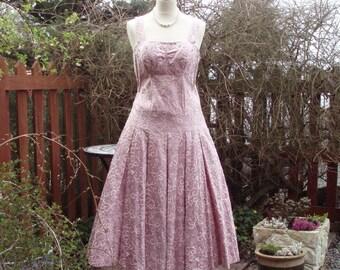 Original 1950s David Hart dress sequins and crystals prom evening party flapper M/L