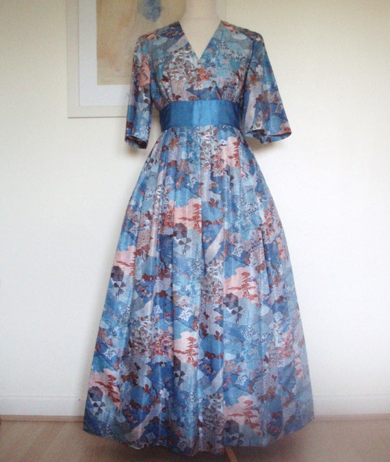 Vintage1960s Long Dress Flowers and Leaves UK 12  US 8 10 by Eastex England full pleated skirt. Cumberband. Unique. Rare.