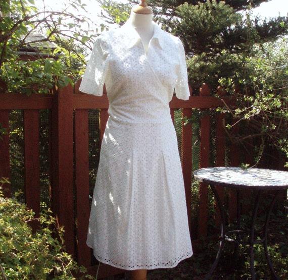 White broderai anglaise cotton dress UK 12 US 10 French