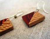 Wood Earings, Square Eco-Friendly Dangle Earrings, Orange Cocobolo and Figured Sycamore