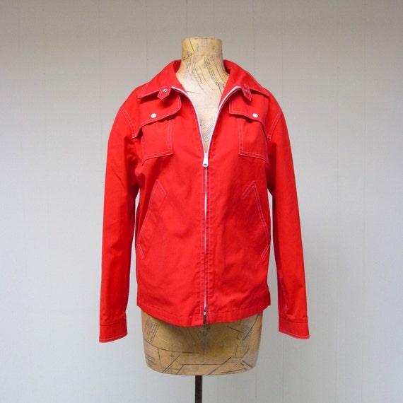Vintage 1960s Jacket / 60s Red London Fog Windbreaker / Medium