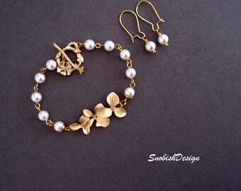 Orchid Jewelry Set, Orchid Bracelet, Flower Bracelet, Pearl Bracelet, Wedding set, Wedding Bracelet, Bridal Bracelet, Bridal Set, Gold