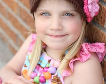 Girl Hat Newsgirl Brimmed Newsboy Crocheted Hat Brown with Pink and Hot Rose flower, Brim, Bill