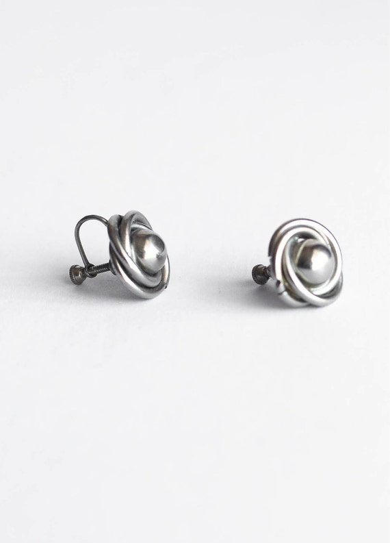 Silver Tone Clip On Earrings Screwback Knot Retro Mid Century Vintage Simple Modern Jewelry