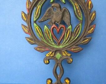 Wilton Cast Iron Trivet - Laurel Wreath - Eagle on Heart