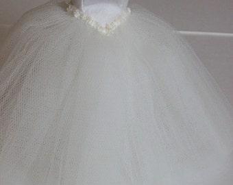 Handmade 1/12 scale dollshouse miniature ivory ball gown on manequin