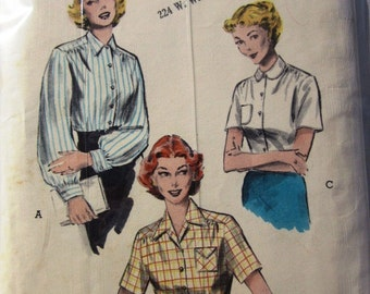 Butterick 6137 Womens 1940s Blouse Sewing Pattern Bust 32