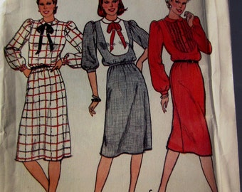Butterick 4157 Misses' 70s Neck Tie and Bib Dress Sewing Pattern Size 12 Bust 34