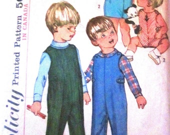 Simplicity 6157 Childrens 60s Overalls and Shirt Sewing Pattern Size 1/2 Chest Breast 19