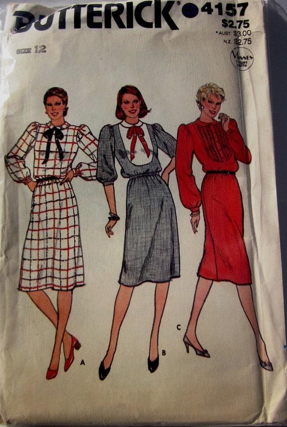 Butterick 4157 Womens 70s Neck Tie Dress Sewing Pattern Bust 34