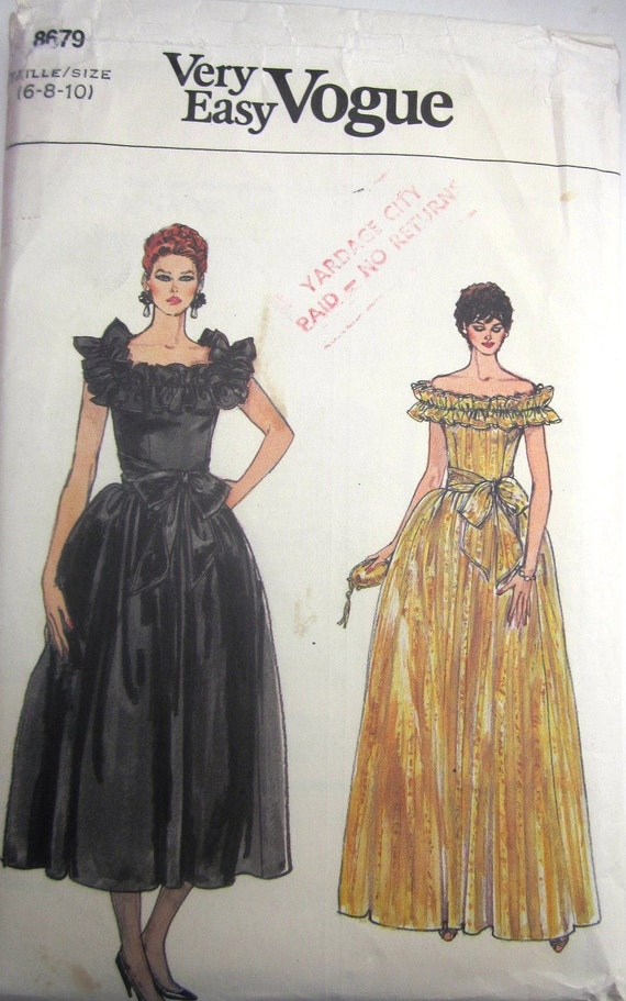 Vogue 8679 Womens 80s Off Shoulder Evening Dress and Sash Sewing Pattern Bust 30 to 32