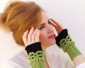 Fingerless gloves, Crochet, knit, Arm Wrist Warmers,green black, women, Winter Accessories, Fashion Accessories