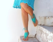Turquoise Barefoot Sandals, Crochet Nude shoes,  Foot jewelry, Wedding, Victorian Lace, Sexy, Yoga, Steampunk, Beach Pool