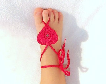 2 pairs Baby Heart Barefoot sandals, Baby shoes, Fuchsia, barefoot sandles, Light Turquoise Barefoot Sandals.